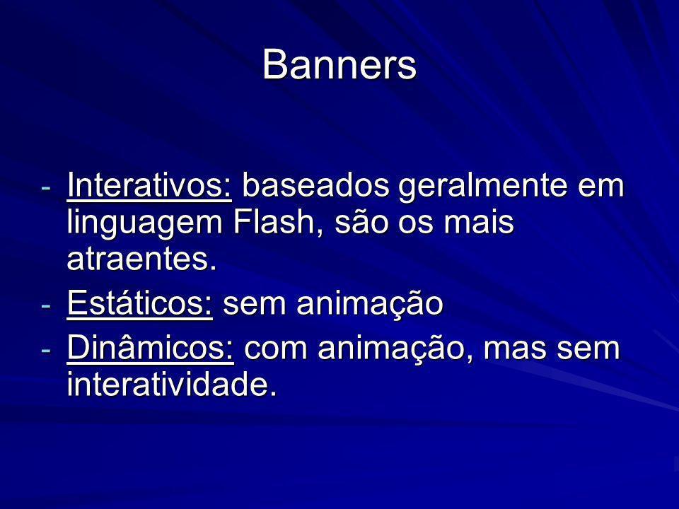 Banners Interativos: baseados geralmente em linguagem Flash, são os mais atraentes. Estáticos: sem animação.
