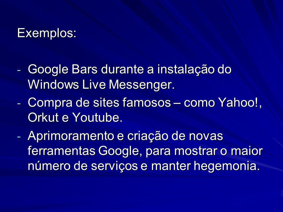 Exemplos: Google Bars durante a instalação do Windows Live Messenger. Compra de sites famosos – como Yahoo!, Orkut e Youtube.