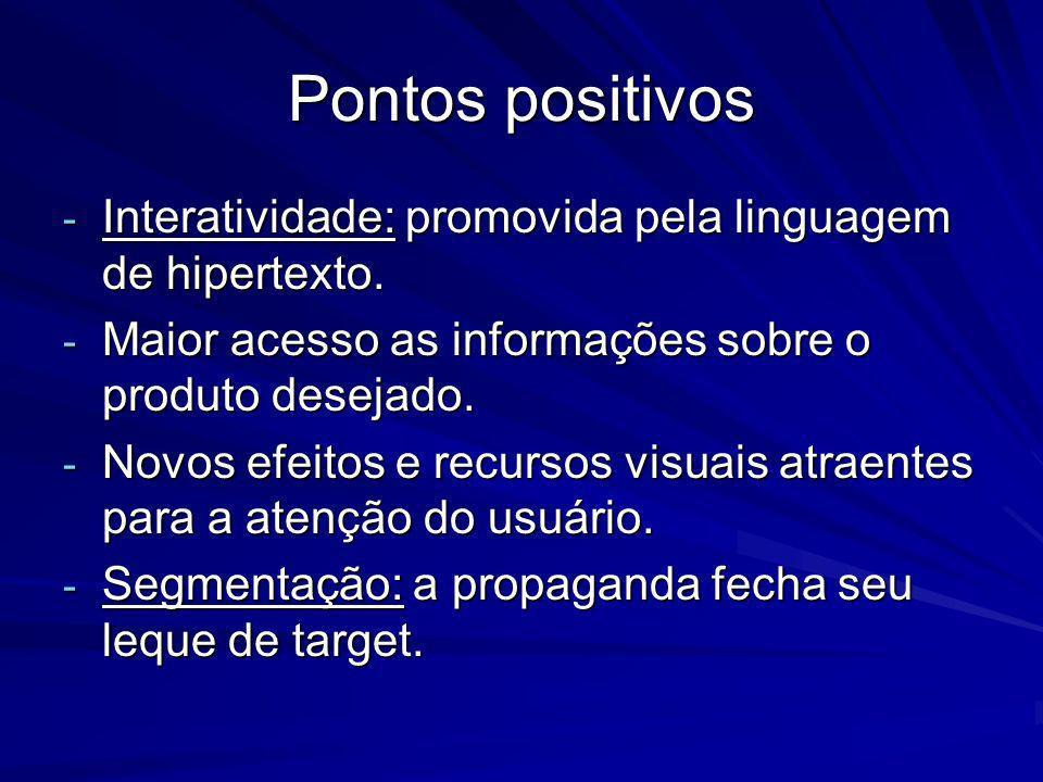 Pontos positivos Interatividade: promovida pela linguagem de hipertexto. Maior acesso as informações sobre o produto desejado.