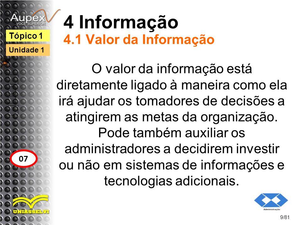 4 Informação 4.1 Valor da Informação