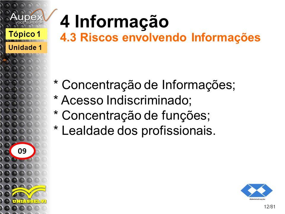 4 Informação 4.3 Riscos envolvendo Informações