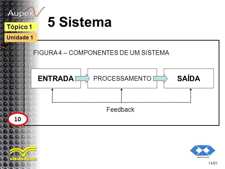 5 Sistema ENTRADA SAÍDA 10 Tópico 1