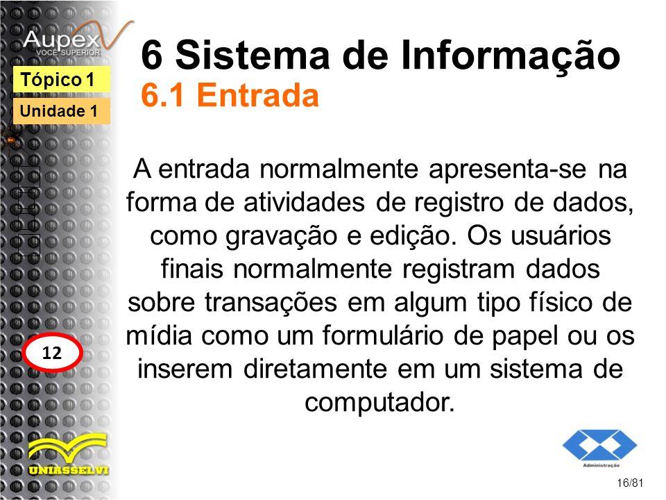 6 Sistema de Informação 6.1 Entrada