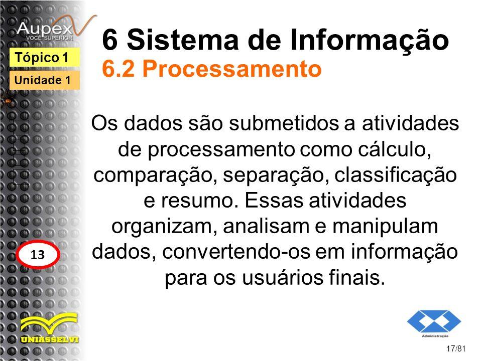 6 Sistema de Informação 6.2 Processamento
