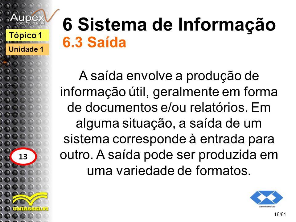 6 Sistema de Informação 6.3 Saída