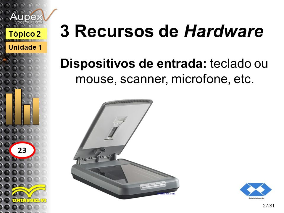 Dispositivos de entrada: teclado ou mouse, scanner, microfone, etc.