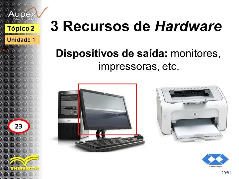Dispositivos de saída: monitores, impressoras, etc.