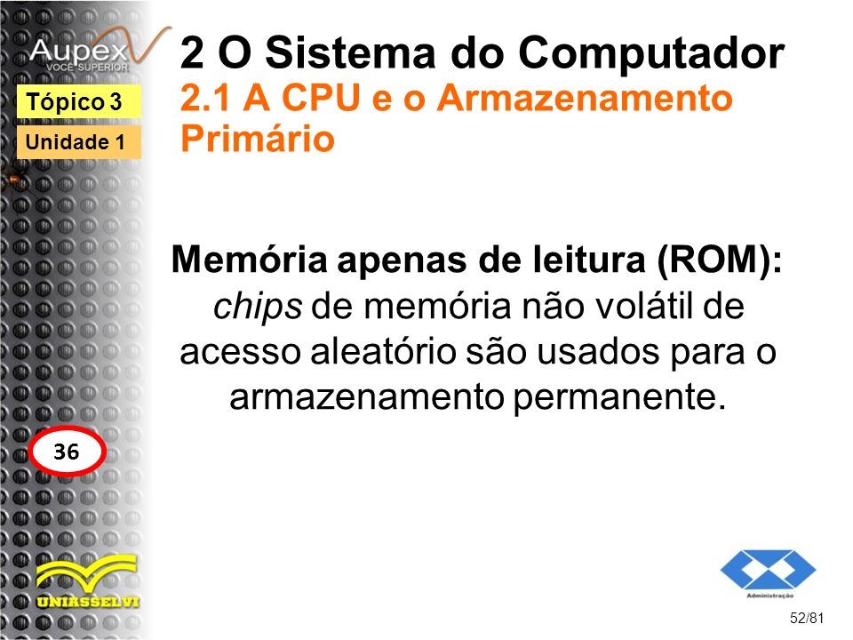 2 O Sistema do Computador 2.1 A CPU e o Armazenamento Primário