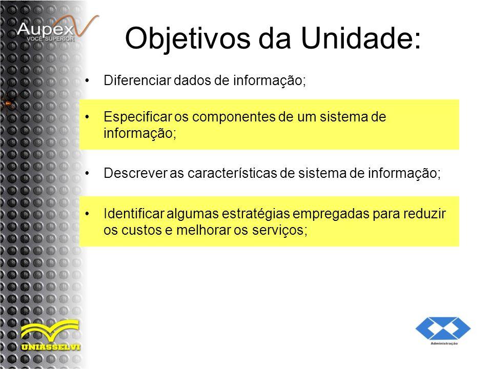 Objetivos da Unidade: Diferenciar dados de informação;