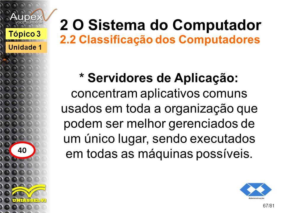 2 O Sistema do Computador 2.2 Classificação dos Computadores