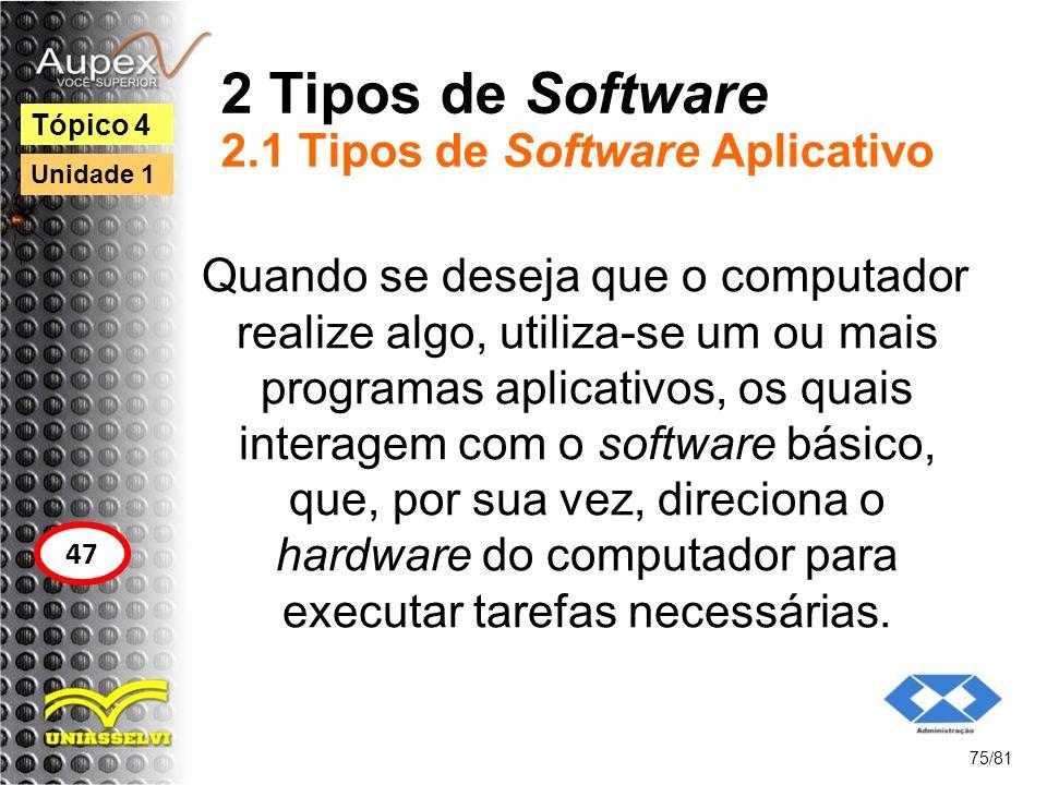 2 Tipos de Software 2.1 Tipos de Software Aplicativo