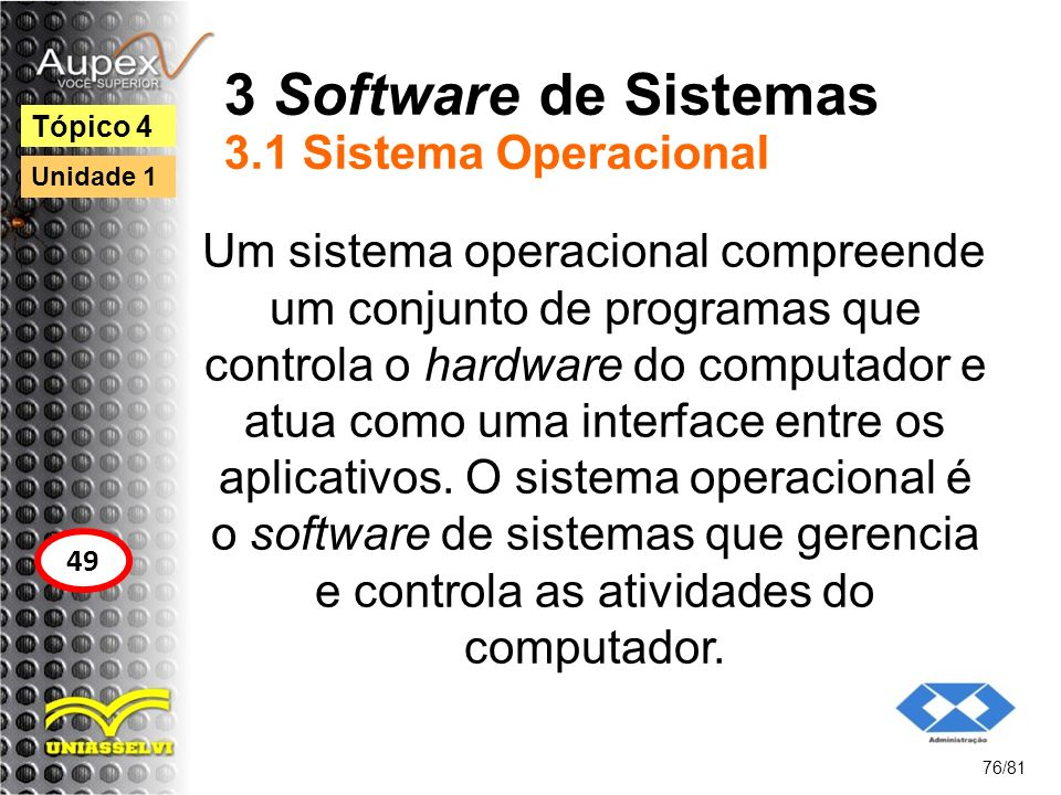 3 Software de Sistemas 3.1 Sistema Operacional