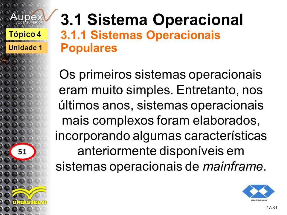 3.1 Sistema Operacional 3.1.1 Sistemas Operacionais Populares