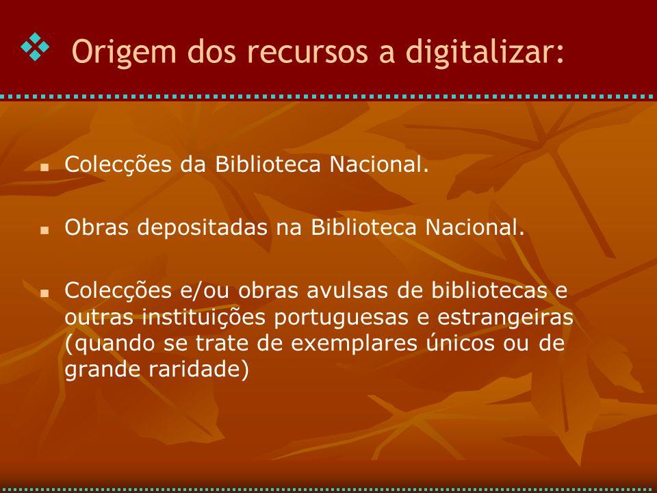 Origem dos recursos a digitalizar: