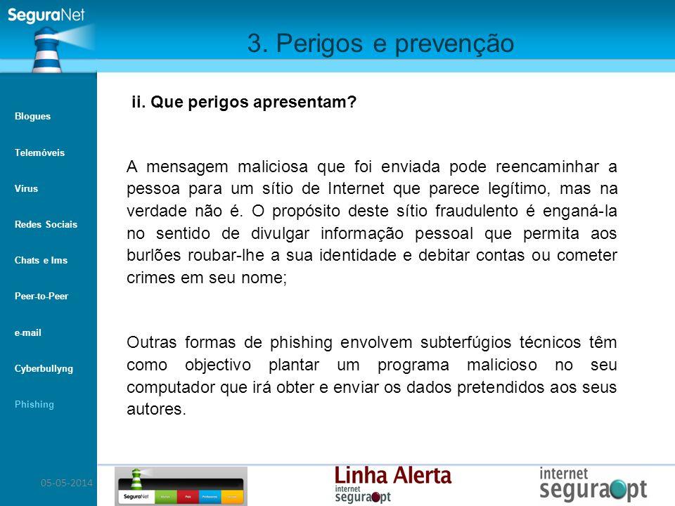 3. Perigos e prevenção ii. Que perigos apresentam