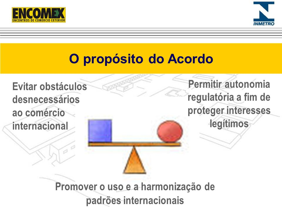 O propósito do Acordo Permitir autonomia regulatória a fim de proteger interesses legítimos.