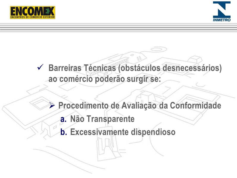 Barreiras Técnicas (obstáculos desnecessários) ao comércio poderão surgir se: