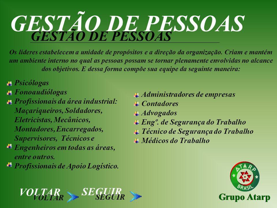 GESTÃO DE PESSOAS GESTÃO DE PESSOAS VOLTAR SEGUIR Grupo Atarp
