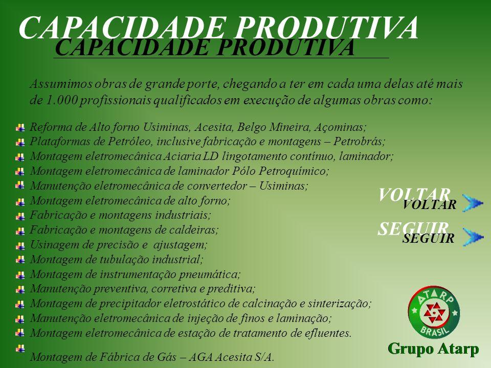 CAPACIDADE PRODUTIVA CAPACIDADE PRODUTIVA VOLTAR SEGUIR Grupo Atarp