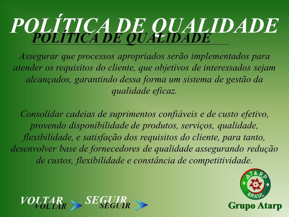 POLÍTICA DE QUALIDADE POLÍTICA DE QUALIDADE VOLTAR SEGUIR