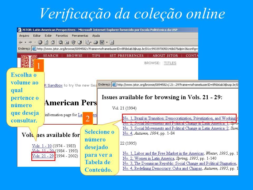 Verificação da coleção online