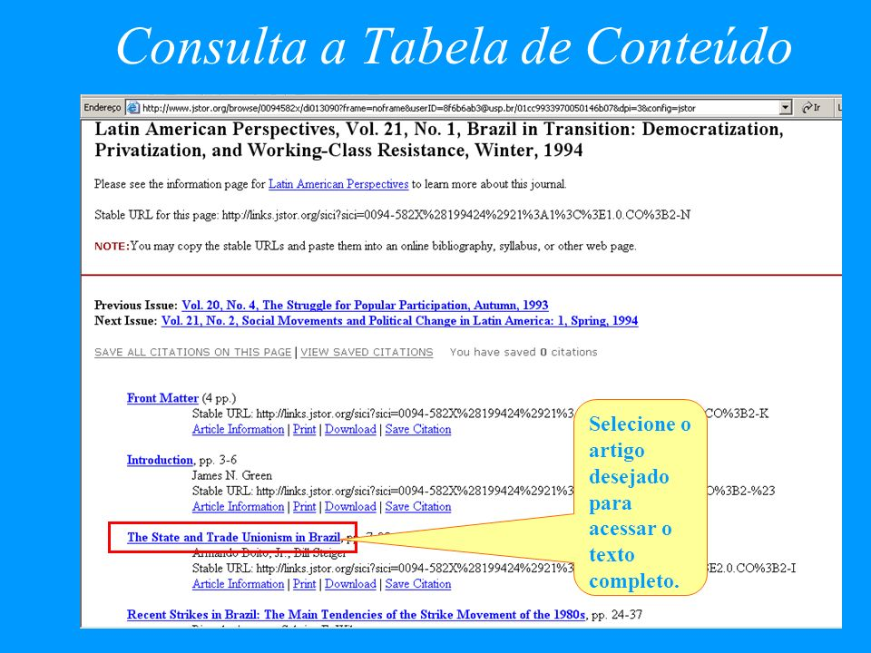 Consulta a Tabela de Conteúdo