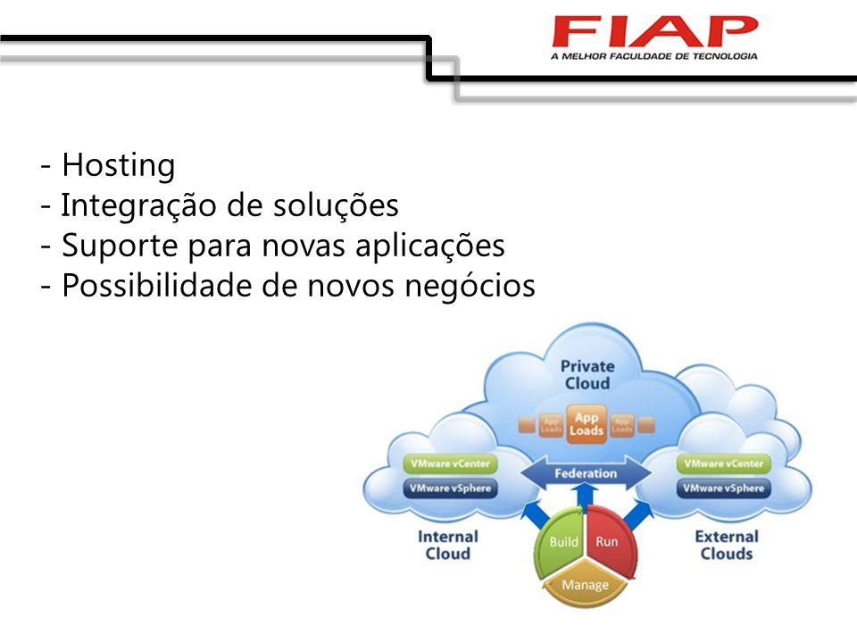 - Hosting - Integração de soluções. - Suporte para novas aplicações.