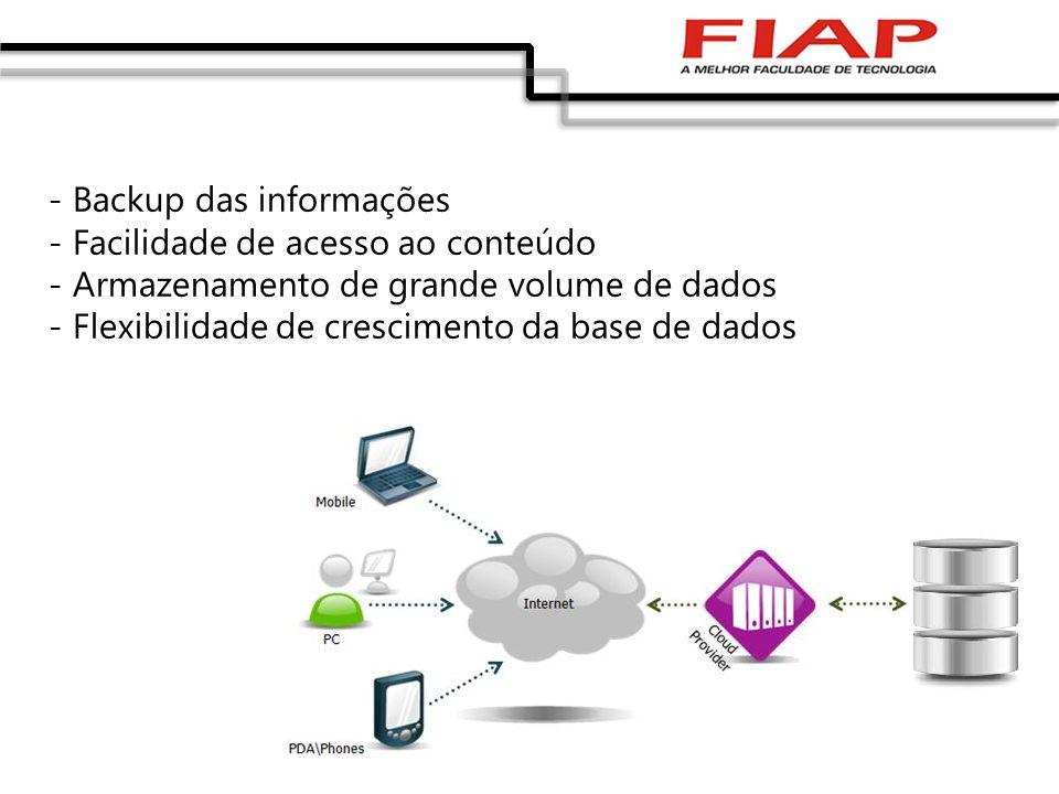- Backup das informações