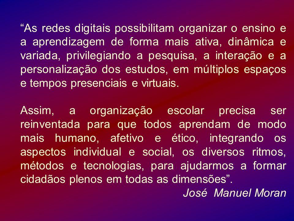 As redes digitais possibilitam organizar o ensino e a aprendizagem de forma mais ativa, dinâmica e variada, privilegiando a pesquisa, a interação e a personalização dos estudos, em múltiplos espaços e tempos presenciais e virtuais.