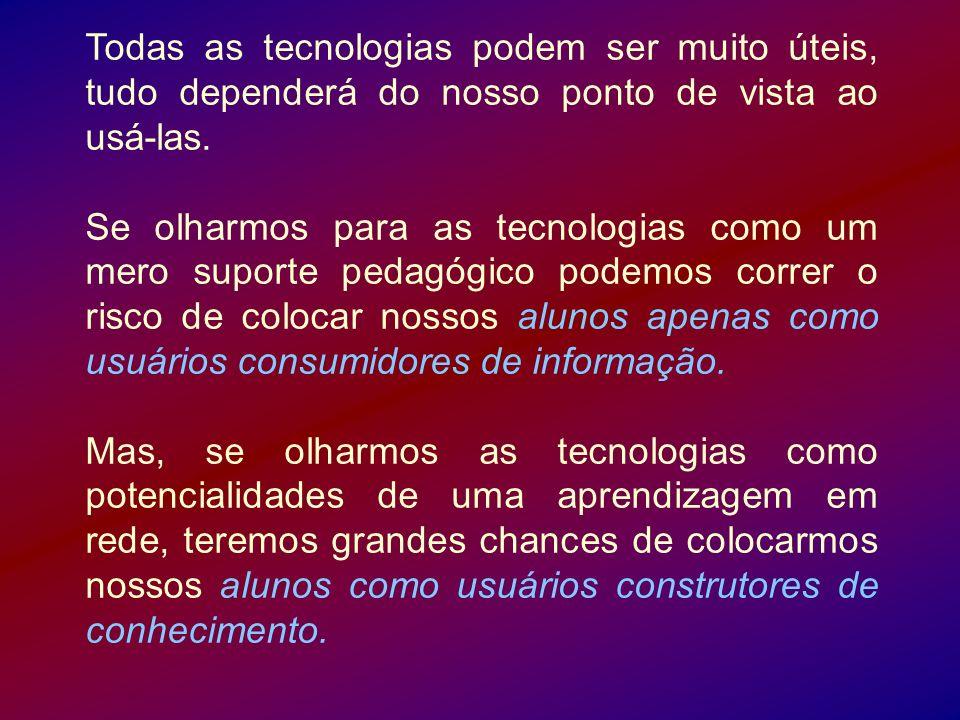 Todas as tecnologias podem ser muito úteis, tudo dependerá do nosso ponto de vista ao usá-las.