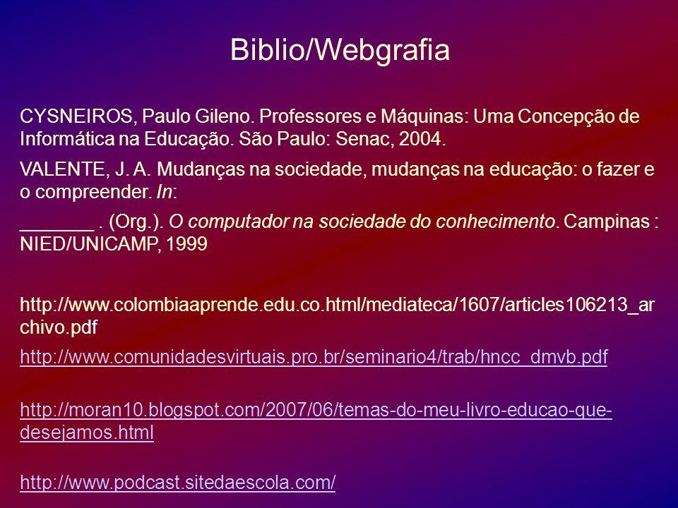 Biblio/Webgrafia CYSNEIROS, Paulo Gileno. Professores e Máquinas: Uma Concepção de Informática na Educação. São Paulo: Senac, 2004.