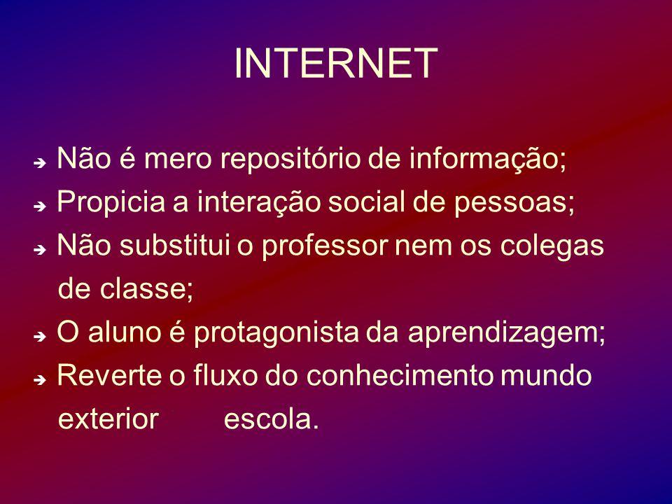 INTERNET Não é mero repositório de informação;