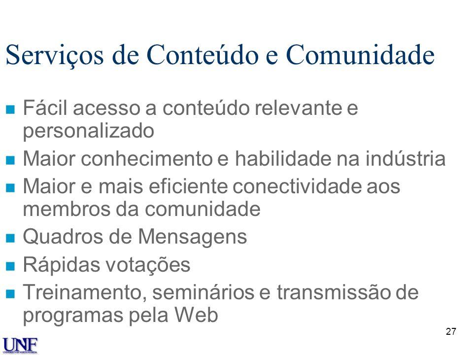 Serviços de Conteúdo e Comunidade