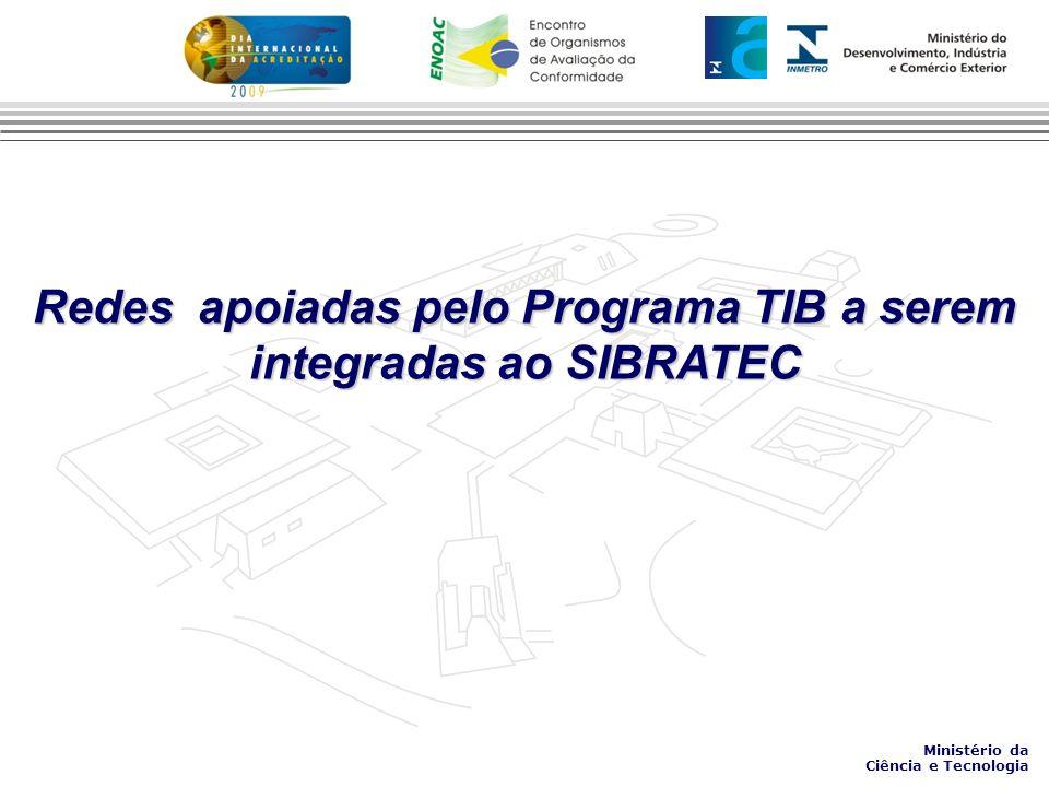 Redes apoiadas pelo Programa TIB a serem integradas ao SIBRATEC