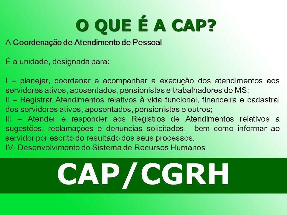 CAP/CGRH O QUE É A CAP A Coordenação de Atendimento de Pessoal