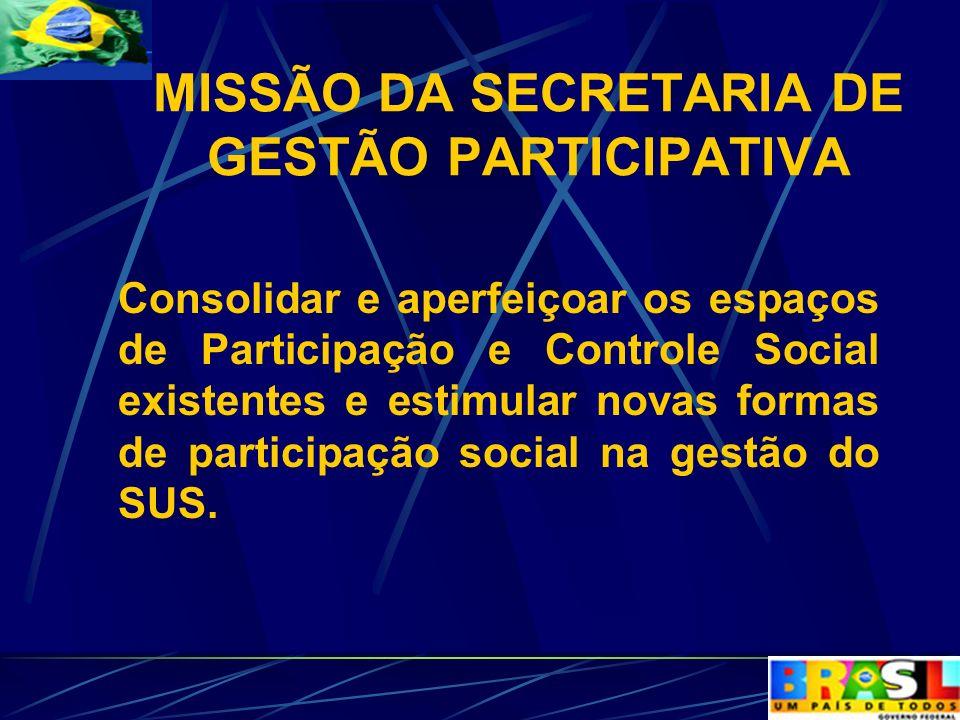 MISSÃO DA SECRETARIA DE GESTÃO PARTICIPATIVA