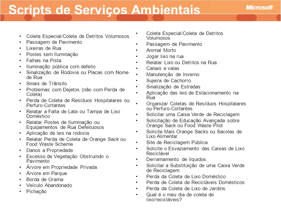 Scripts de Serviços Ambientais