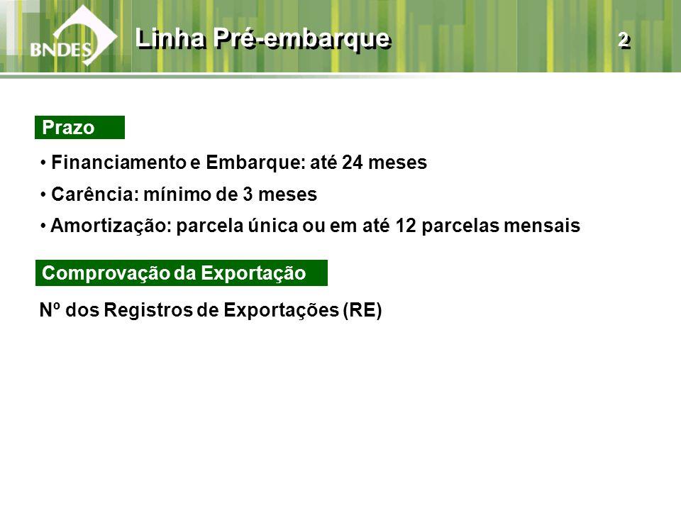 Linha Pré-embarque 2 Prazo Financiamento e Embarque: até 24 meses