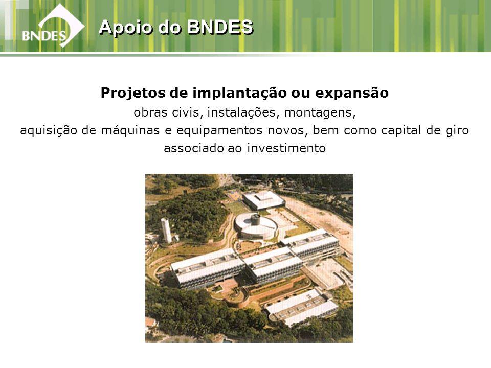 Projetos de implantação ou expansão