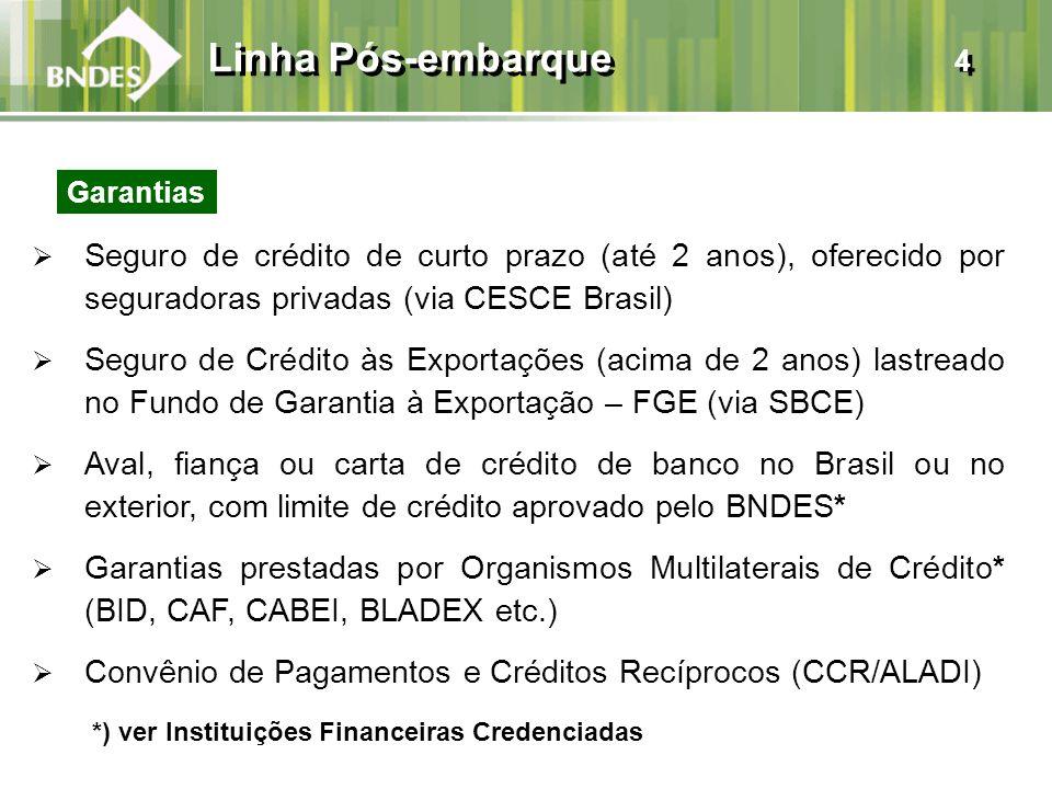 Linha Pós-embarque 4 Garantias. Seguro de crédito de curto prazo (até 2 anos), oferecido por seguradoras privadas (via CESCE Brasil)