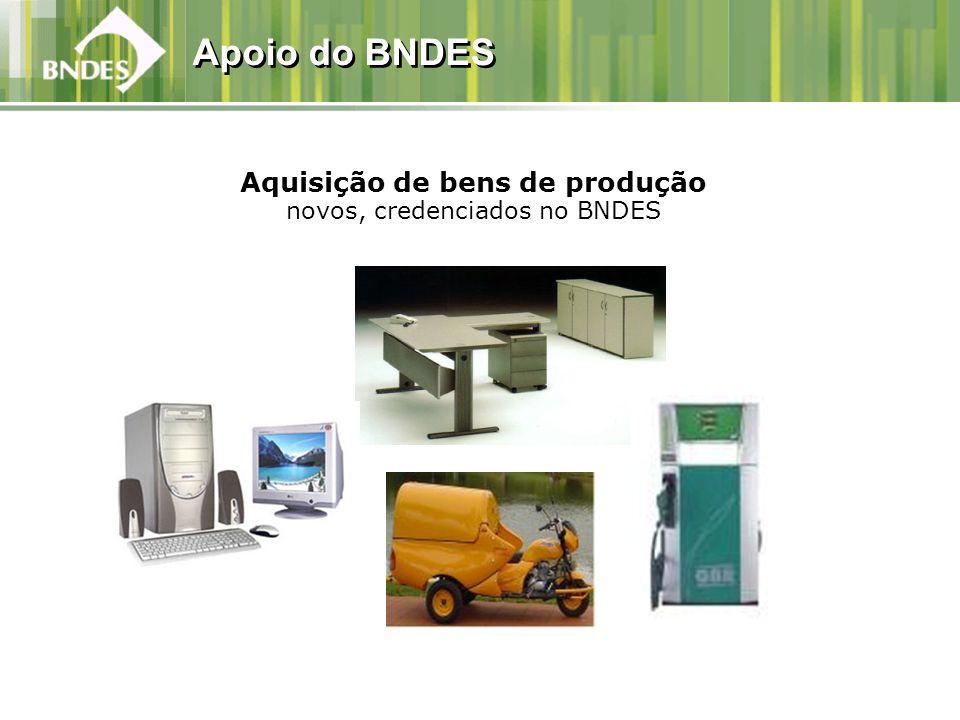 Aquisição de bens de produção novos, credenciados no BNDES