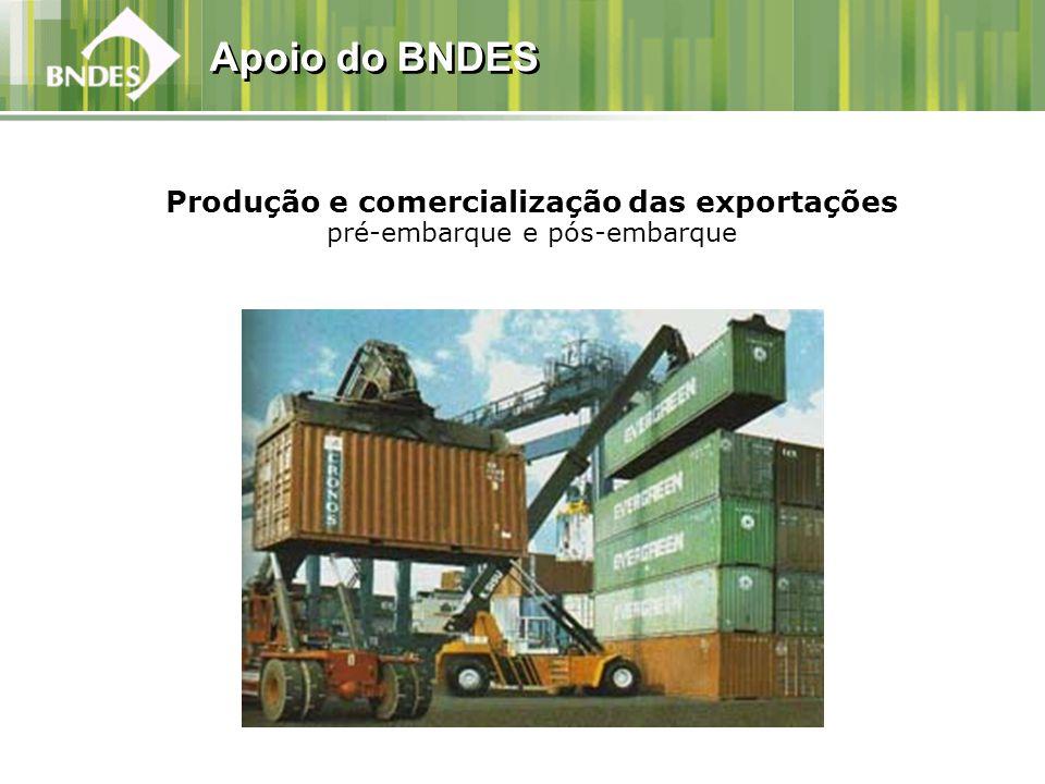 Produção e comercialização das exportações pré-embarque e pós-embarque