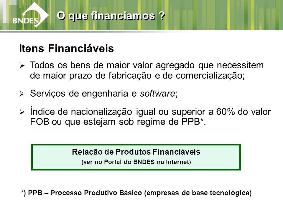 Relação de Produtos Financiáveis (ver no Portal do BNDES na Internet)