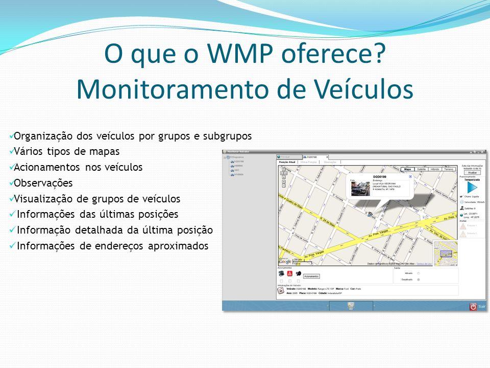O que o WMP oferece Monitoramento de Veículos