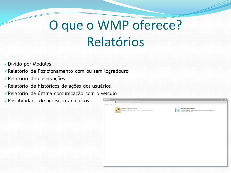 O que o WMP oferece Relatórios