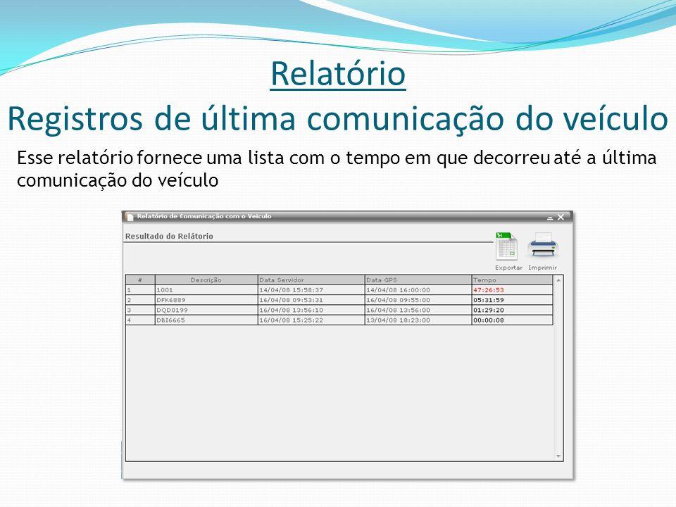 Relatório Registros de última comunicação do veículo