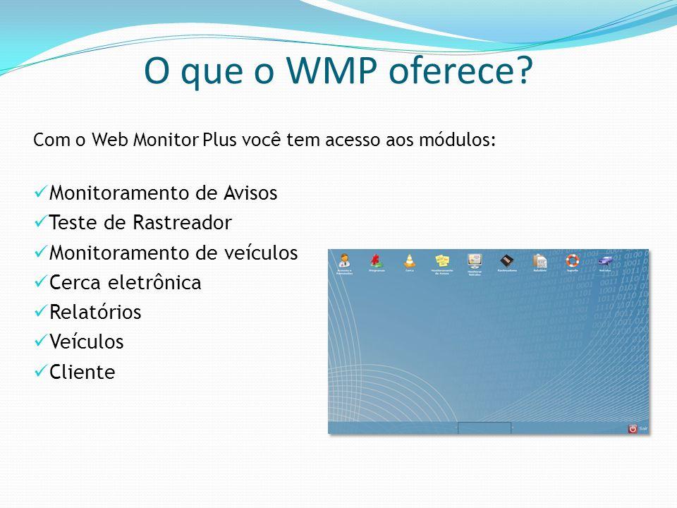 O que o WMP oferece Monitoramento de Avisos Teste de Rastreador