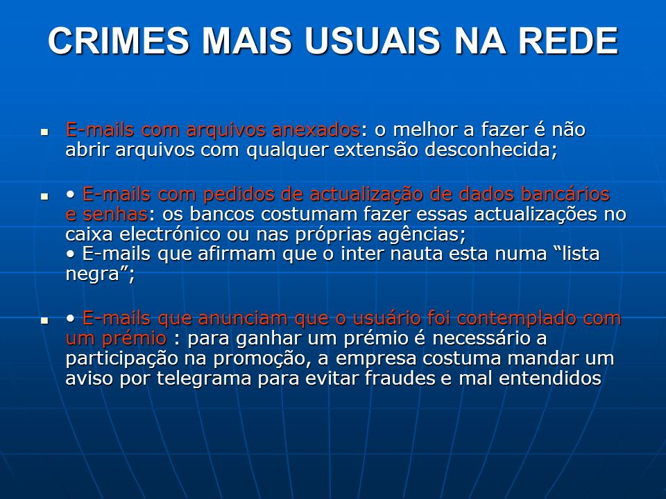CRIMES MAIS USUAIS NA REDE