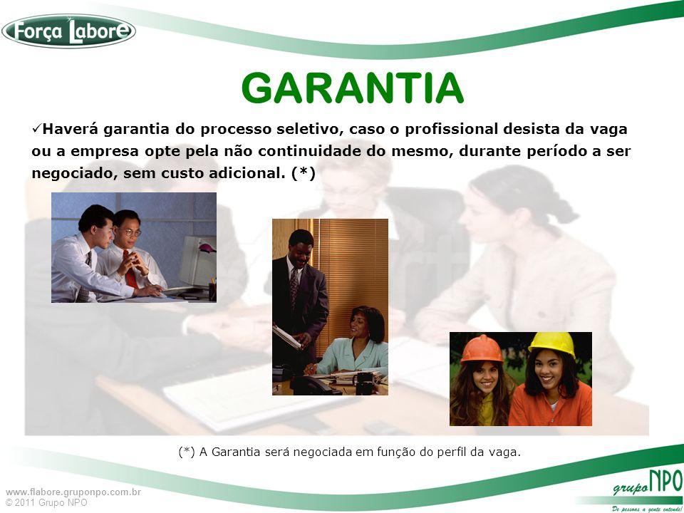 (*) A Garantia será negociada em função do perfil da vaga.