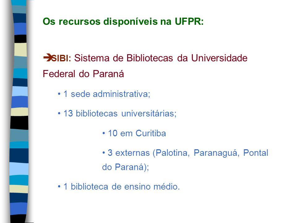 Os recursos disponíveis na UFPR: